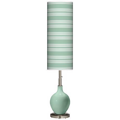 Grayed Jade Bold Stripe Ovo Floor Lamp