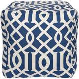 """Blue Corn Trellis 18"""" Square Surya Pouf Ottoman"""