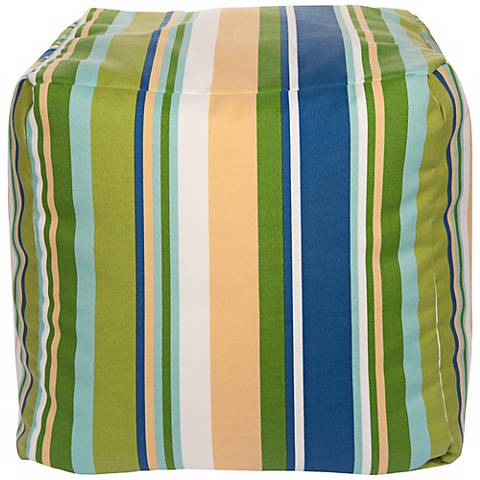"Cool Multi-Color Stripes 18"" Square Surya Pouf Ottoman"