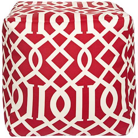 "Red Trellis 18"" Square Surya Pouf Ottoman"