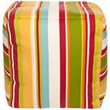 "Warm Multi-Color Stripes 18"" Square Surya Pouf Ottoman"