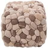 "Surya Desert Sand Wool 18"" Cube Ottoman Pouf"