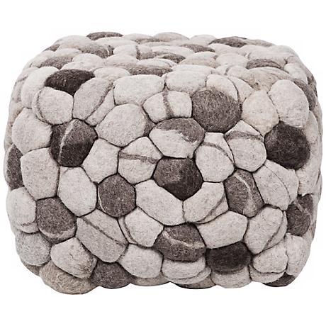 """Surya Winter Gray Wool 18"""" Cube Ottoman Pouf"""