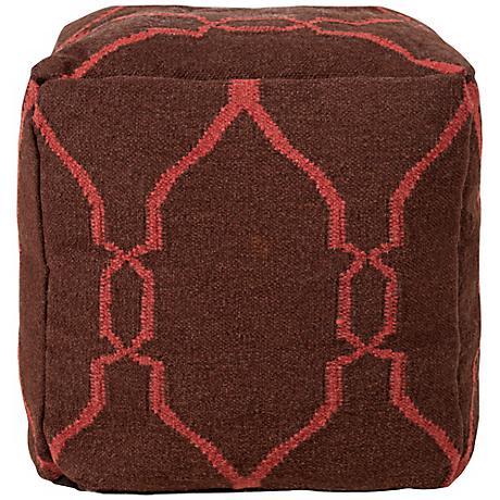 """Surya Chocolate Terracotta Wool 18"""" Cube Ottoman Pouf"""