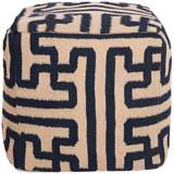 "Surya 18"" Square Greek Key Mossy Gold Wool Ottoman Pouf"
