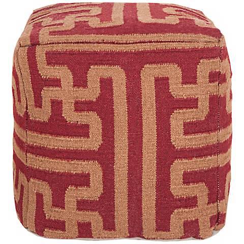 "Surya Terracotta Goldenrod Wool 18"" Cube Ottoman Pouf"