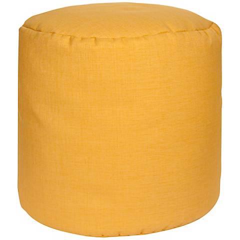 Sunshine Yellow Round Surya Pouf Ottoman