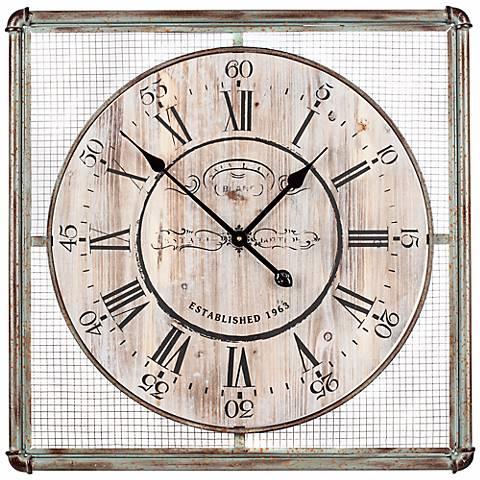"Cooper Classics Bartow 26"" Square Iron Wall Clock"