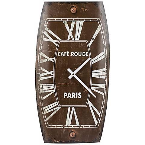 """Cooper Classics Mesa 19 3/4"""" High Tin Brown Wall Clock"""