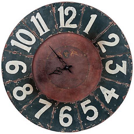 """Cooper Classics Balencia 23 1/2""""W Black Wood Wall Clock"""