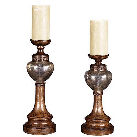 Set of 2 Bronze Mercury Glass Candle Holders