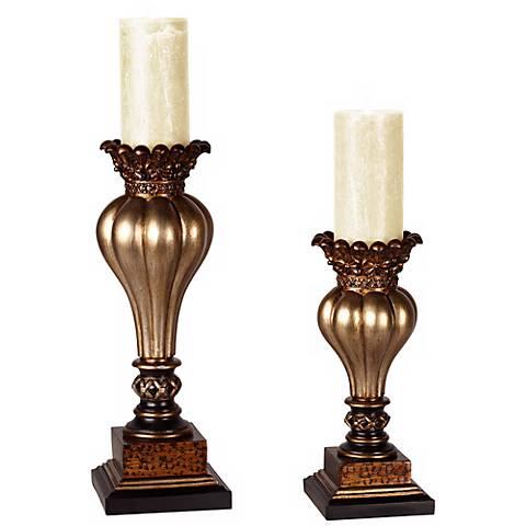 Old World Gold Bronze Pillar Candle Holder Set of 2