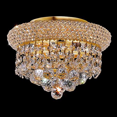 """Primo Royal Cut Crystal 10"""" Wide Gold Ceiling Light"""