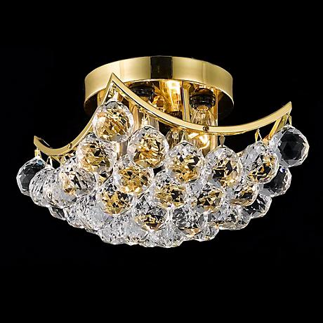 "Corona 10""W Gold Crystal Ceiling Light"