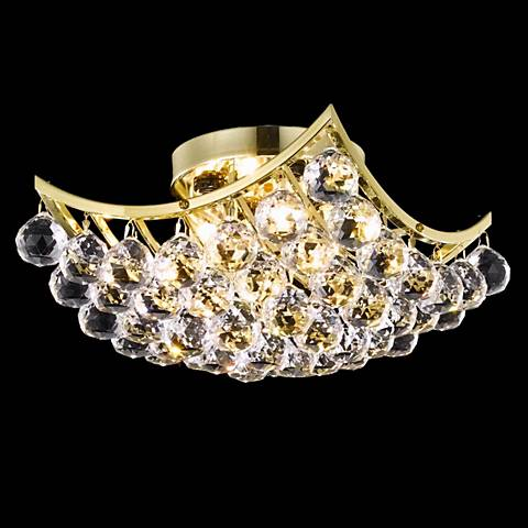 """Corona 12"""" Square Gold and Crystal Ceiling Light"""