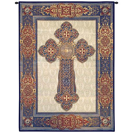 """Gothic Cross 53"""" High Tapestry with Hanging Rod"""