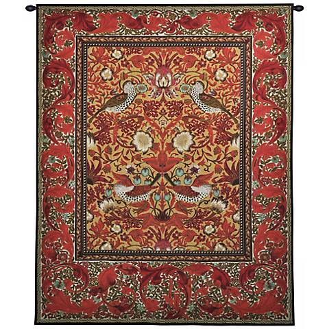 "Strawberry Thief 65"" High Wall Tapestry with Hanging Rod"