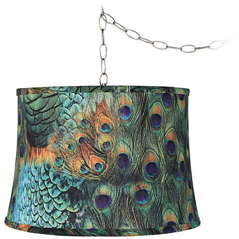 "Peacock Print 16""W Brushed Steel Plug-In Swag Chandelier"
