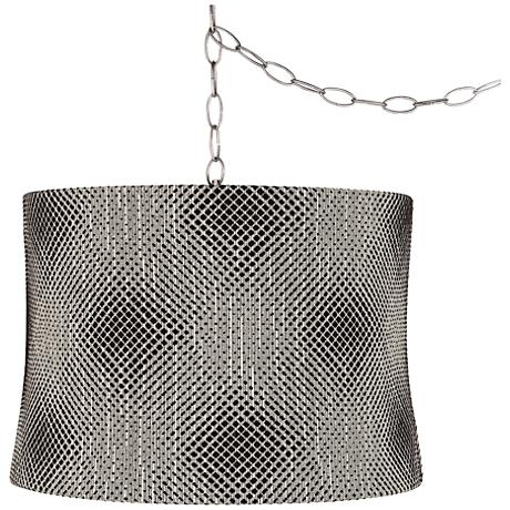 "Black Pixels 16""W Brushed Steel Plug-In Swag Chandelier"