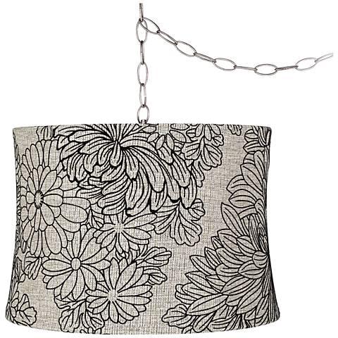"""Velveteen Chrysanthemum 16""""W Steel Plug-In Swag Chandelier"""