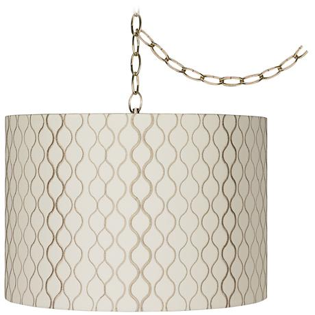 """Embroidered Hourglass 16""""W Brass Plug-In Swag Chandelier"""