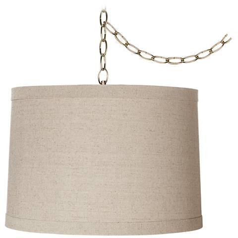 Linen Drum 16 Quot Wide Antique Brass Plug In Swag Chandelier