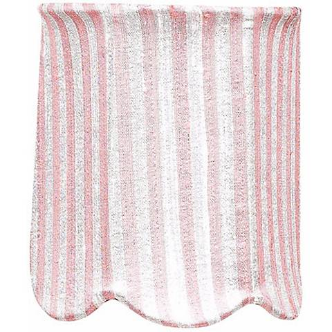 Striped Pink Scallop Drum Shade 4x4x4.75 (Clip-On)