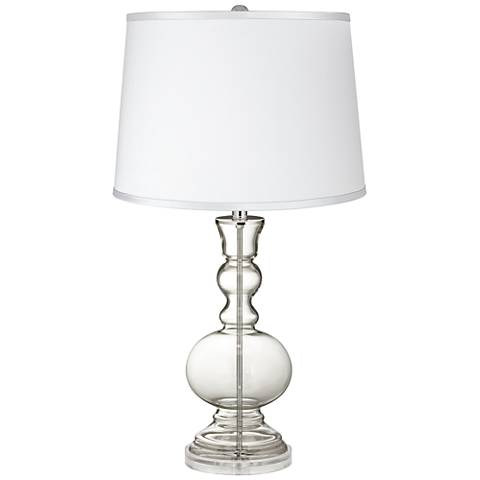 Clear Fillable - Satin Silver White Shade Table Lamp