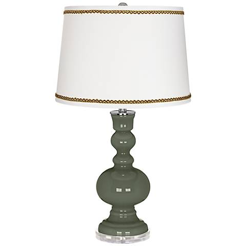 Deep Lichen Green Apothecary Table Lamp with Twist Scroll Trim