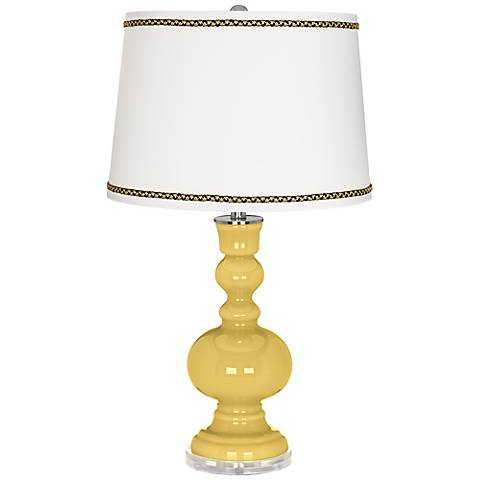 Daffodil Apothecary Table Lamp with Ric-Rac Trim