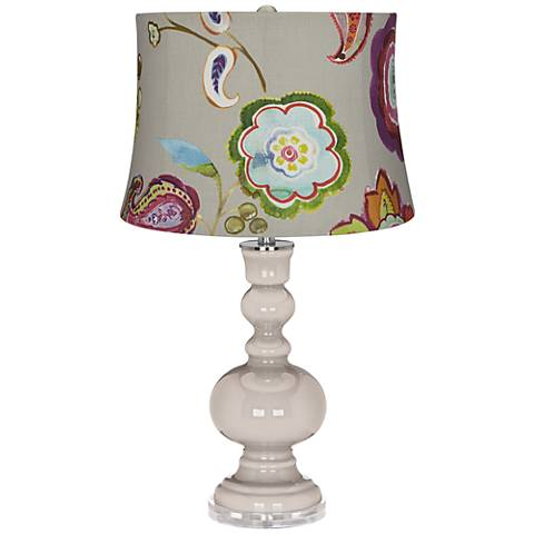 Pediment Beige with Flowers Apothecary Table Lamp