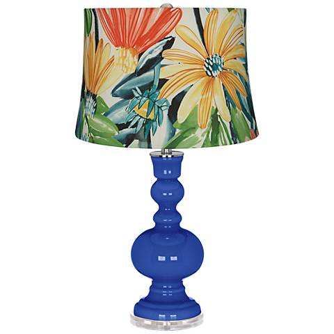 Dazzling Blue Multi-Color Daisies Apothecary Table Lamp