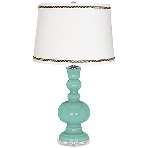 Rapture Blue Apothecary Table Lamp with Ric-Rac Trim