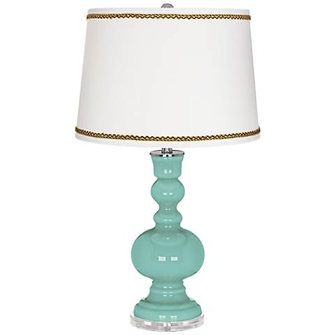 Rapture Blue Apothecary Table Lamp with Twist Scroll Trim