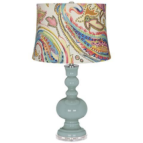 Aqua-Sphere Watercolor Paisley Apothecary Table Lamp