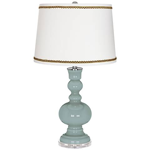 Aqua-Sphere Apothecary Table Lamp with Twist Scroll Trim