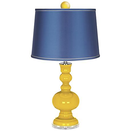 Citrus Apothecary Lamp-Finial and Satin Blue Shade