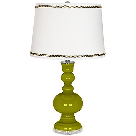 Olive Green Apothecary Table Lamp with Ric-Rac Trim