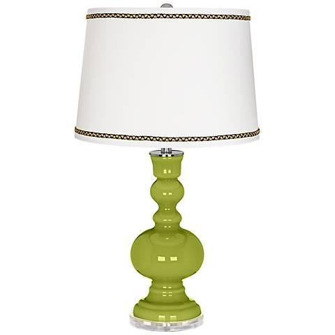 Parakeet Apothecary Table Lamp with Ric-Rac Trim