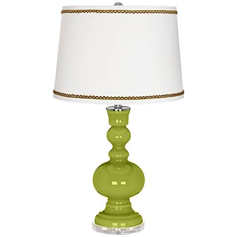 Parakeet Apothecary Table Lamp with Twist Scroll Trim