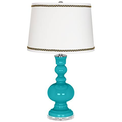 Surfer Blue Apothecary Table Lamp with Ric-Rac Trim