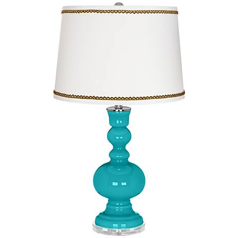 Surfer Blue Apothecary Table Lamp with Twist Scroll Trim