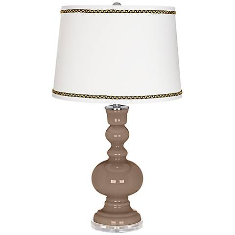 Mocha Apothecary Table Lamp with Ric-Rac Trim