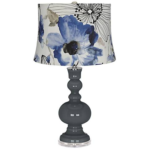 Black of Night Blue Watercolor Flowers Apothecary Table Lamp