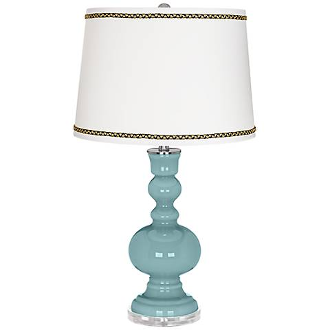 Raindrop Apothecary Table Lamp with Ric-Rac Trim