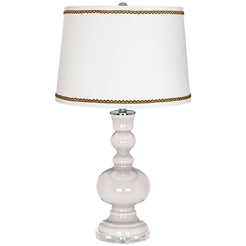Smart White Apothecary Table Lamp with Twist Scroll Trim