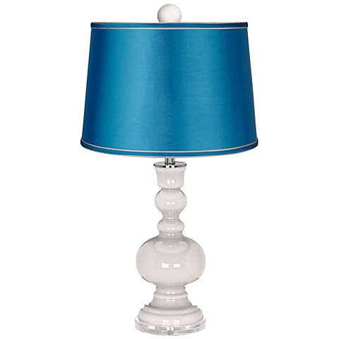 Smart White Apothecary Lamp-Finial and Turquoise Shade