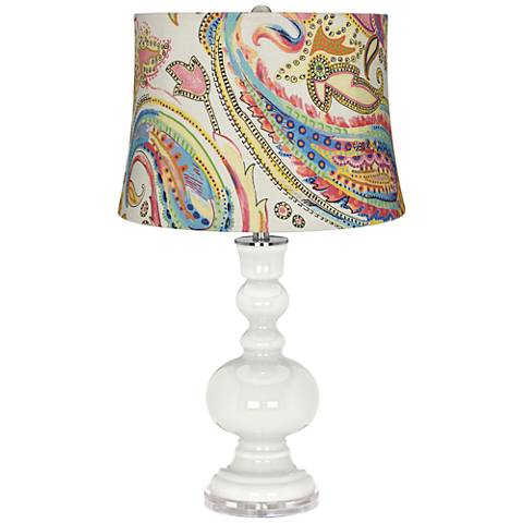 Winter White Watercolor Paisley Apothecary Table Lamp