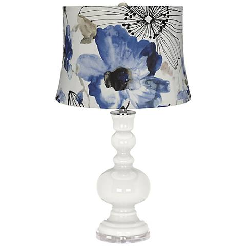 Winter White Blue Watercolor Flowers Apothecary Table Lamp