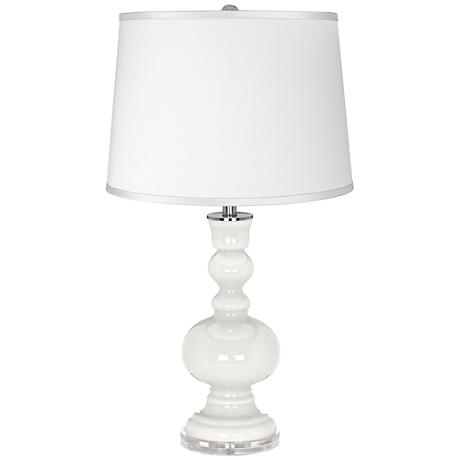 Winter White - Satin Silver White Shade Apothecary Table Lamp